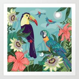 Toucan and Parrot Art Print