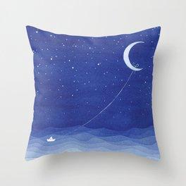 Follow the moon, watercolor blue ocean sea sailboat Throw Pillow