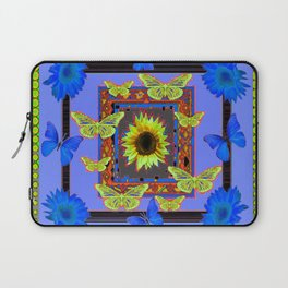 BUTTERFLY FANTASY BLUE-GREEN FLORAL Laptop Sleeve