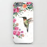 Hummingbird and Flowers Watercolor Animals iPhone 6s Slim Case