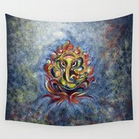 ganesh Wall Tapestries featuring AUM Ganesha by Harsh Malik