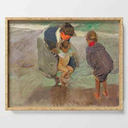On the Beach by Joaquín Sorolla, 1908 Serving Tray