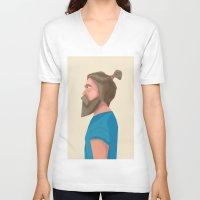 beard V-neck T-shirts featuring Beard by L P C
