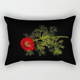 Paeonia Tenuifolia Mary Delany Vintage British Floral Flower Paper Collage Black Background Rectangular Pillow