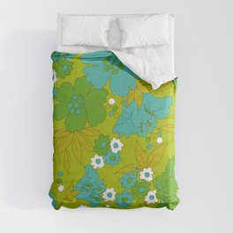 Green, Turquoise, and White Retro Flower Design Pattern Comforters