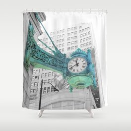 The Blue Chicago Clock Shower Curtain
