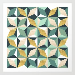 Geometric Pattern with Gold, Natural Wood and Greens Art Print