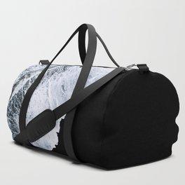 Waves crashing on a black sand beach – minimalist Landscape Photography Duffle Bag