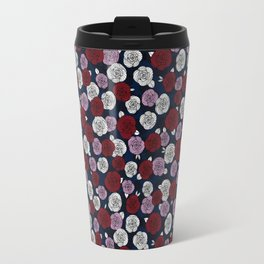 Roses in navy blue, orchid and burgundy red Travel Mug