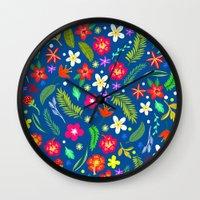 hawaiian Wall Clocks featuring Hawaiian Garden by uzualsunday