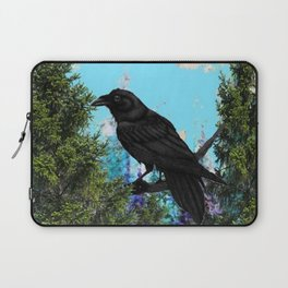 CROW &  Mountain Landscape Pines In Blue-Greens Laptop Sleeve