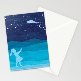 Girl with a kite, blue kids watercolor Stationery Cards