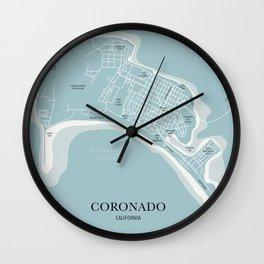 Blues Coronado California Map Wall Clock