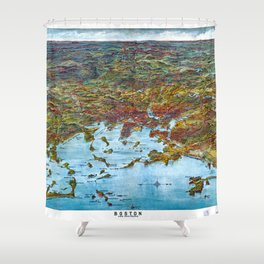 BOSTON MASSACHUSETTS city old map Father Day art print Shower Curtain