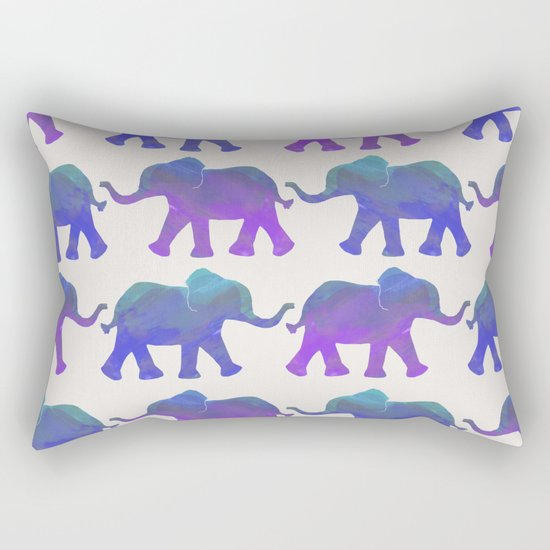 Follow The Leader - Painted Elephants in Royal Blue, Purple, & Mint Rectangular Pillow