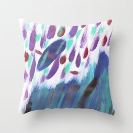 Navy blue teal violet purple  watercolor brushstrokes Throw Pillow