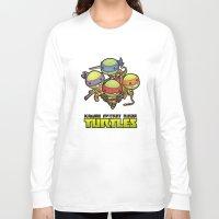 ninja turtles Long Sleeve T-shirts featuring Kawaii Mutant Ninja Turtles by Squid&Pig