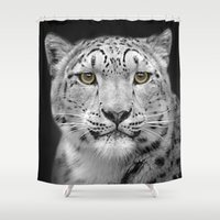 snow leopard Shower Curtains featuring Snow Leopard by Linsey Williams Wall Art, Clothing, And