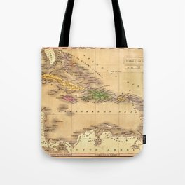 Map Of The Caribbean 1828 Tote Bag