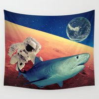 shark Wall Tapestries featuring Shark by Cs025