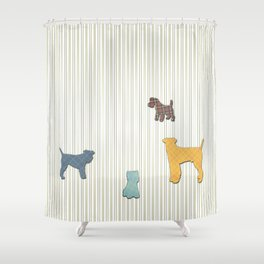 Going To The Dogs Plaid Terriers Shower Curtain