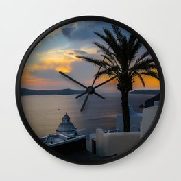 Fira,sunset,Greece Wall Clock
