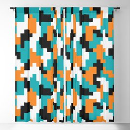 Color blocking shapes orange, teal Blackout Curtain