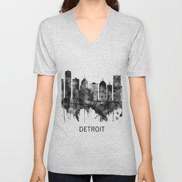 Detroit Michigan Skyline BW Unisex V-Neck