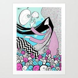 Composition in pink and blue Art Print