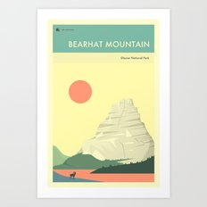 GLACIER NATIONAL PARK POSTER (Bearhat Mountain) Art Print