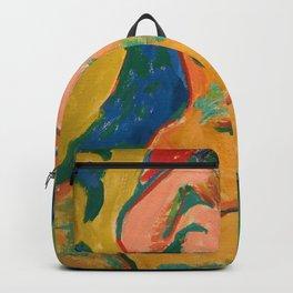 Girl in a flowering meadow - Ernst Ludwig Kirchner Backpack