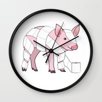 piglet Wall Clocks featuring Piglet by Doctor Hue
