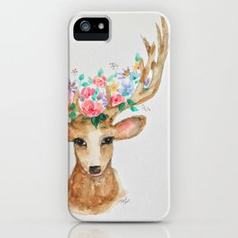 Deer with Flower Crown iPhone Case