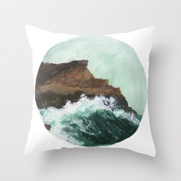 Crashing Waves on a cliff Throw Pillow