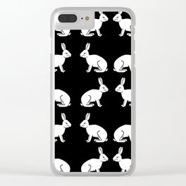 Black and white linocut rabbit drawing pattern inked minimal art animal spirit animals Clear iPhone Case