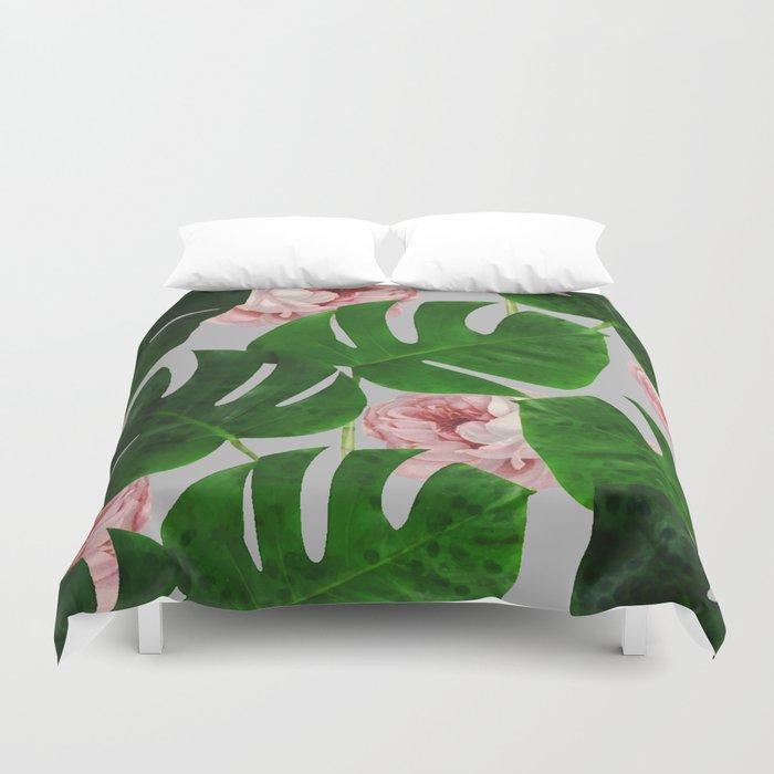 Monstera & Rose Pattern #society6 #decor #buyart Duvet Cover