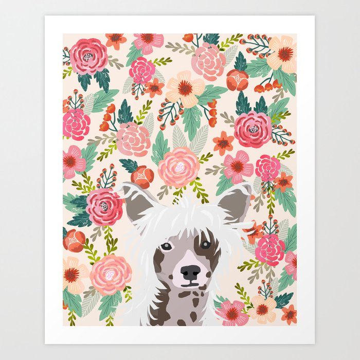 Chinese Crested floral dog breed pattern cute dog gifts for dog lovers Art  Print by petfriendly