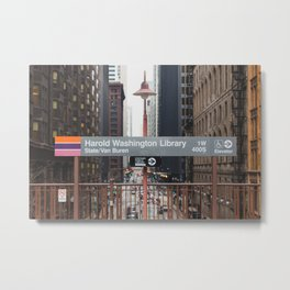 State and Van Buren Harold Washington Library Stop - Chicago El Metal Print