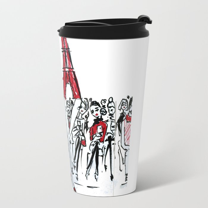 A Paris Runway Fashion Illustration Travel Mug