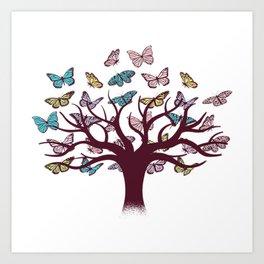Butterflies tree Art Print