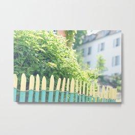Charming Green Paris Fence in Montmartre Metal Print
