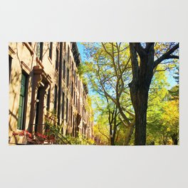 Cobble Hill Brooklyn New York in the Fall, Brownstones Rug