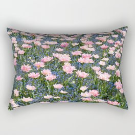 Pink Foxtrot tulips with blue forget-me-nots Rectangular Pillow