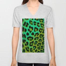Aqua and Apple Green Leopard Spots Unisex V-Neck