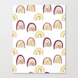 Golden Hour Rainbow Pattern Watercolor Canvas Print