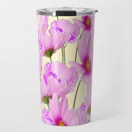 FUCHSIA PINK COSMOS FLOWERS  ON CREAM Travel Mug
