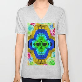 funny skull portrait with colorful roses in pink blue yellow green Unisex V-Neck