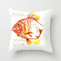 goldfish Throw Pillows featuring goldfish by withapencilinhand