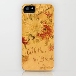 Antique Book Cover for literacy lovers  Floral with ivory and red #longfellow #poetry iPhone Case