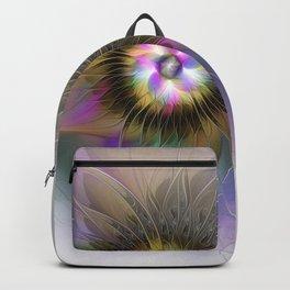 Abstract Flower, Colorful Fantasy Fractal Art Backpack